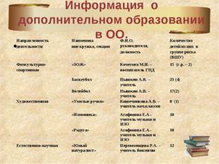 Информация о дополнительном образовании в ОО. Направленность деятельностиНаи