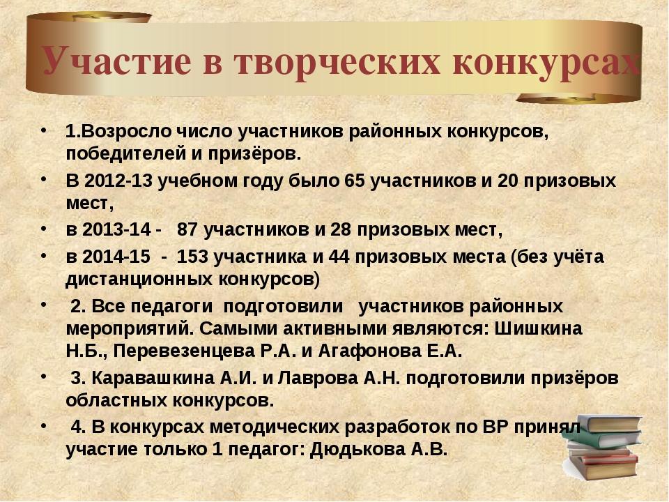 Участие в творческих конкурсах 1.Возросло число участников районных конкурсо...