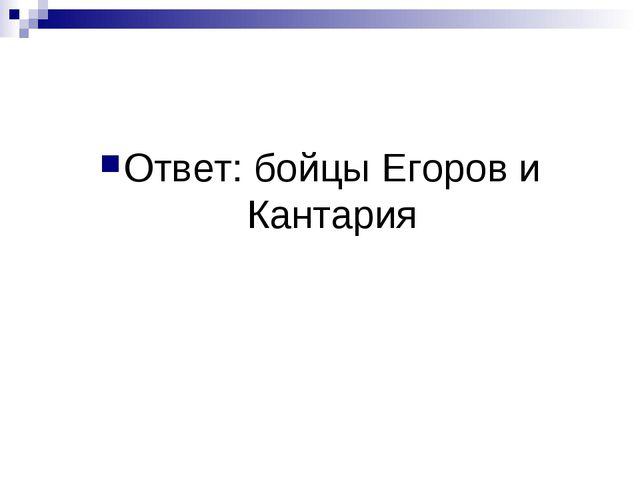 Ответ: бойцы Егоров и Кантария