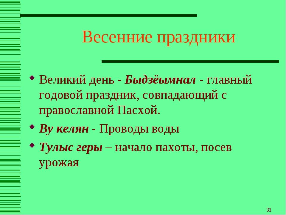* Весенние праздники Великий день - Быдзёымнал - главный годовой праздник, со...