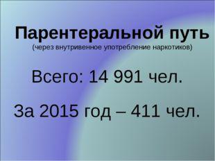 Парентеральной путь (через внутривенное употребление наркотиков) Всего: 14 99