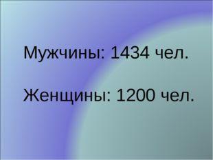 Мужчины: 1434 чел. Женщины: 1200 чел.