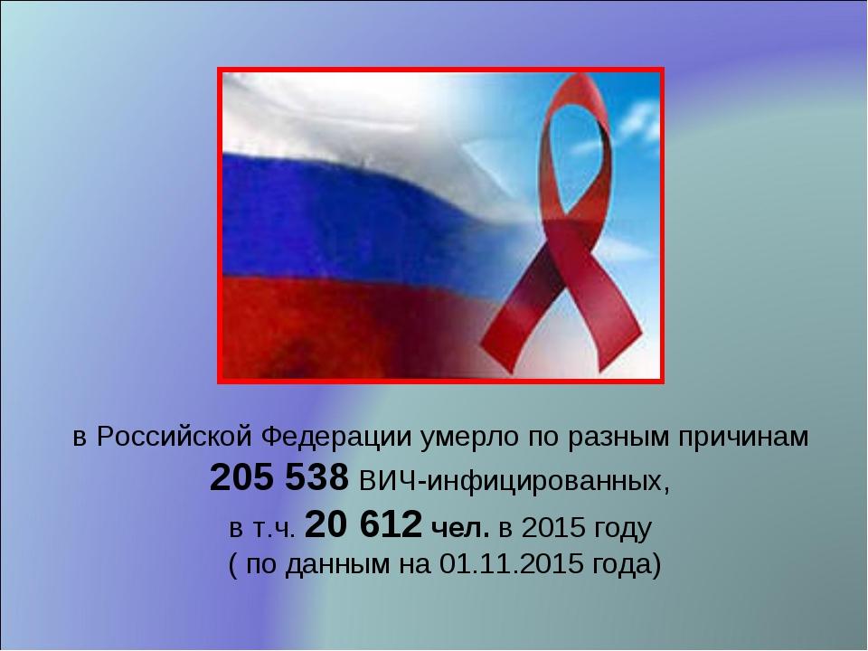 в Российской Федерации умерло по разным причинам 205 538 ВИЧ-инфицированных,...
