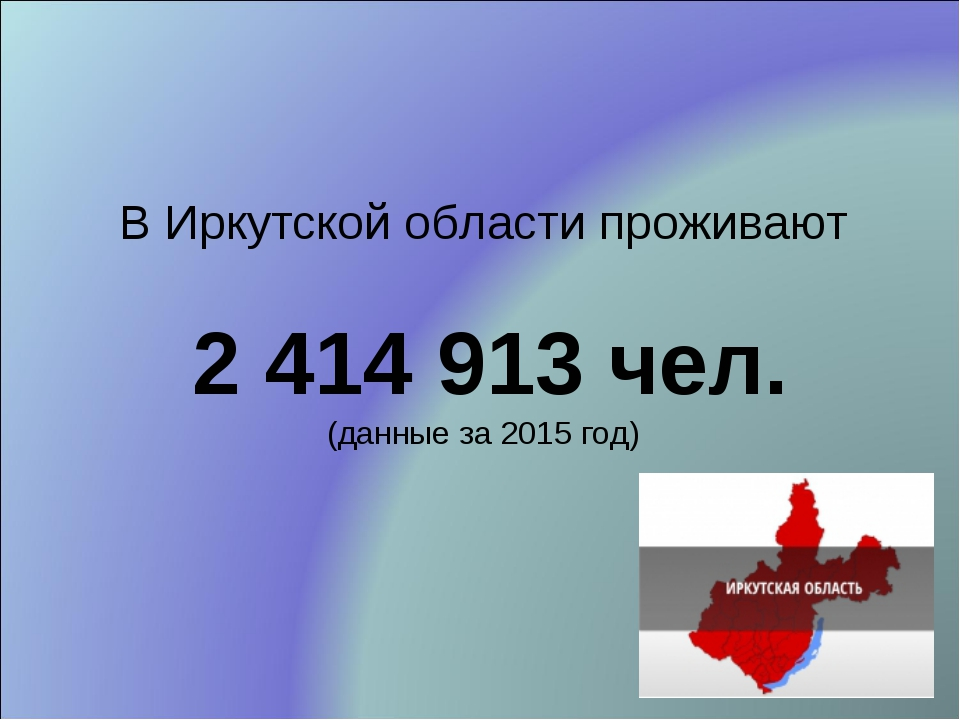 В Иркутской области проживают 2 414 913 чел. (данные за 2015 год)