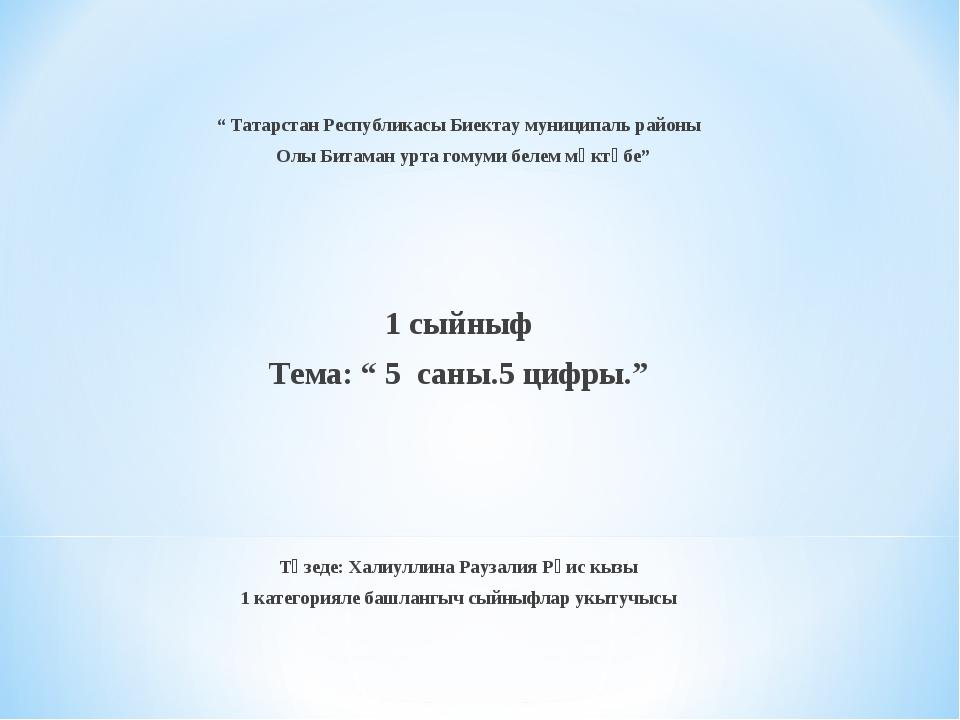 """ Татарстан Республикасы Биектау муниципаль районы Олы Битаман урта гомуми б..."