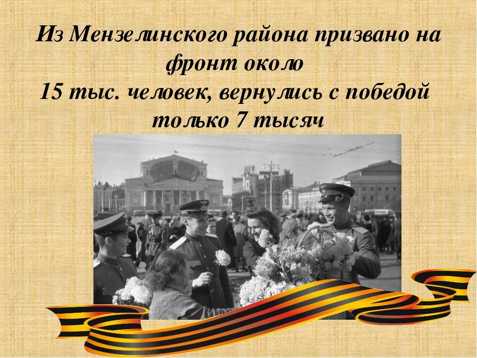 Из Мензелинского района призвано на фронт около 15 тыс. человек, вернулись с...