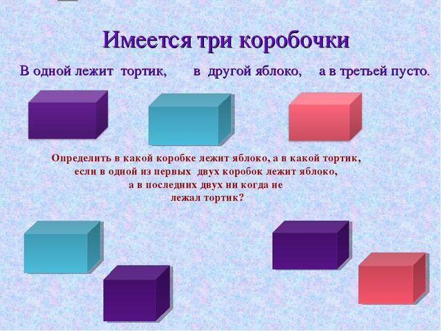Имеется три коробочки Определить в какой коробке лежит яблоко, а в какой тор...