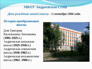 МКОУ Андреевская СОШ История преобразования школы День рождения нашей школы -