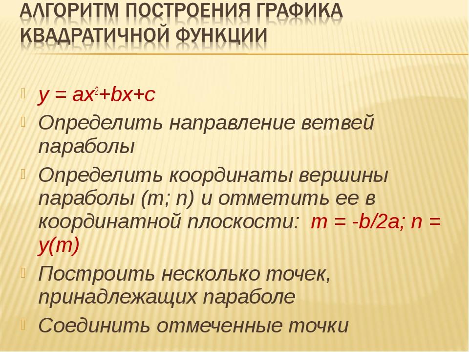 y = ax2+bx+c Определить направление ветвей параболы Определить координаты вер...