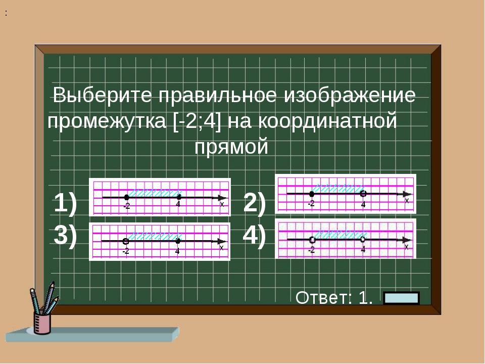 1) 2) 3) 4) Выберите правильное изображение промежутка [-2;4] на координатной...