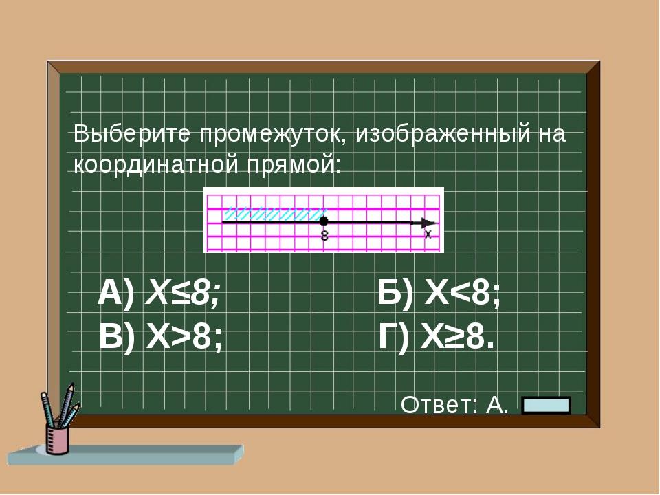 А) Х≤8; Б) Х8; Г) Х≥8. Выберите промежуток, изображенный на координатной пря...