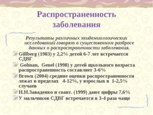 Распространенность заболевания Результаты различных эпидемиологических исслед