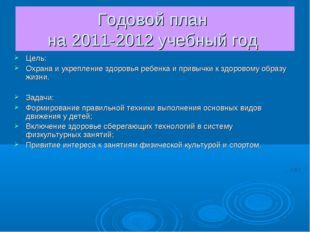 Годовой план на 2011-2012 учебный год Цель: Охрана и укрепление здоровья ребе