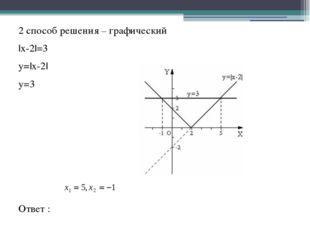 2 способ решения – графический |x-2|=3 y=|x-2| y=3 Ответ :
