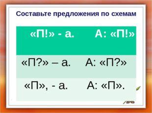 Составьте предложения по схемам «П!» - а. А: «П!» «П?» – а. А: «П?» «П», - а.