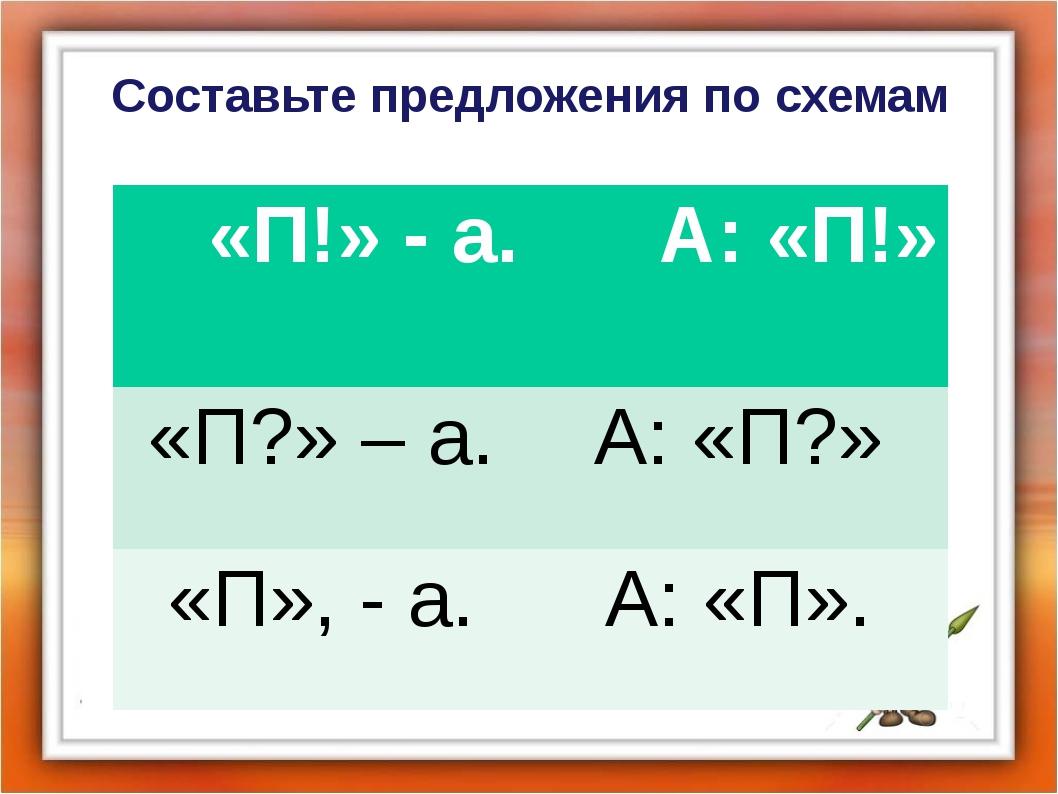 Составьте предложения по схемам «П!» - а. А: «П!» «П?» – а. А: «П?» «П», - а....
