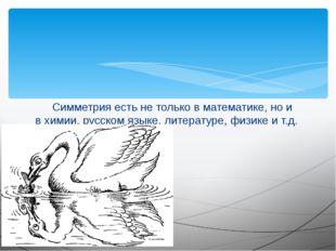 Симметрия есть не только в математике, но и в химии, русском языке, литерату