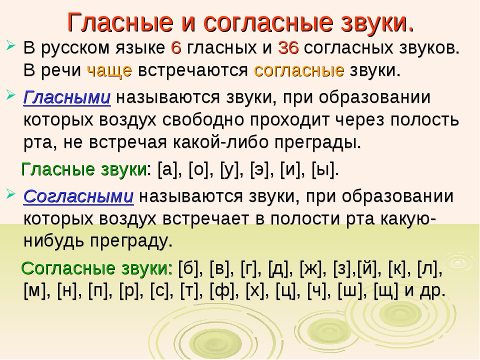 Гласные и согласные звуки. В русском языке 6 гласных и 36 согласных звуков. В...