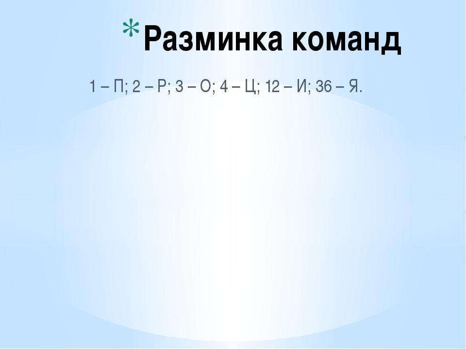 1 – П; 2 – Р; 3 – О; 4 – Ц; 12 – И; 36 – Я. Разминка команд