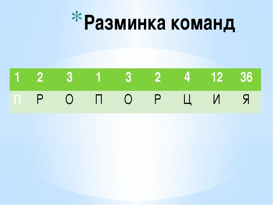 Разминка команд 1 2 3 1 3 2 4 12 36 П Р О П О Р Ц И Я