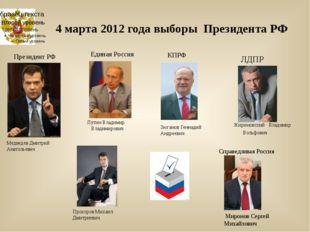4 марта 2012 года выборы Президента РФ Медведев Дмитрий Анатольевич Прохоров