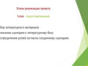 Этапы реализации проекта 1этап - подготовительный Отбор литературного материа