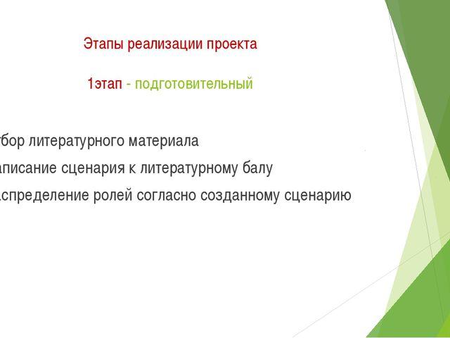 Этапы реализации проекта 1этап - подготовительный Отбор литературного материа...
