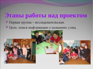 Этапы работы над проектом Первая группа – исследовательская. Цель: поиск инфо