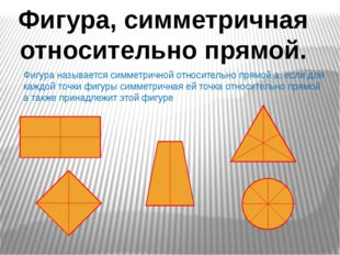Фигура, симметричная относительно прямой. Фигура называется симметричной отно