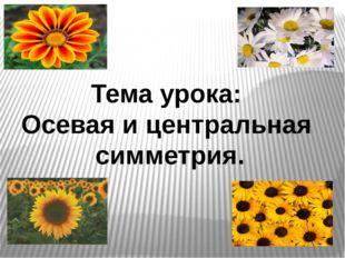 Тема урока: Осевая и центральная симметрия.