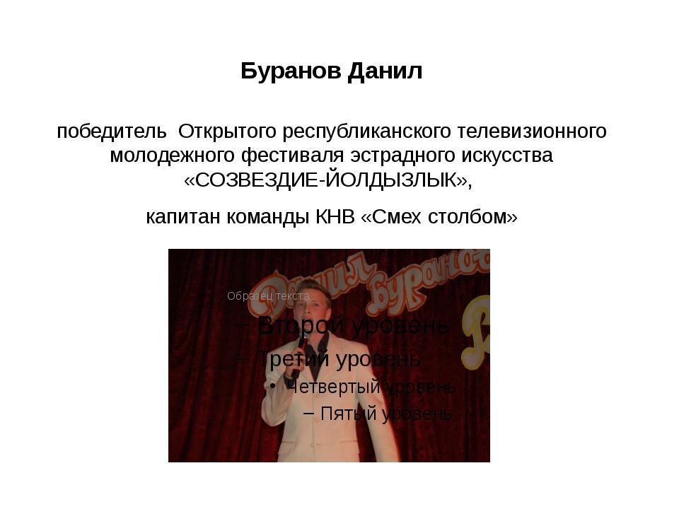 Буранов Данил победитель Открытого республиканского телевизионного молодежног...