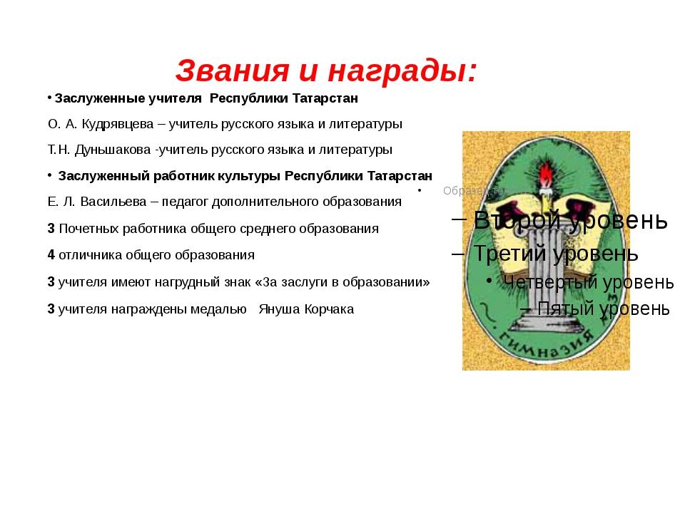 Звания и награды: Заслуженные учителя Республики Татарстан О. А. Кудрявцева –...