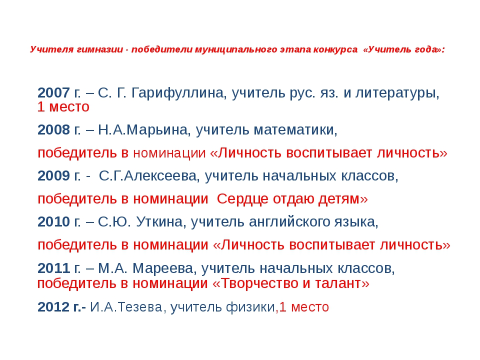 Учителя гимназии - победители муниципального этапа конкурса «Учитель года»:...