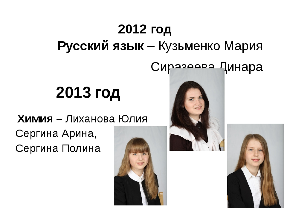 2012 год Русский язык – Кузьменко Мария Сиразеева Динара 2013 год Химия – Лих...