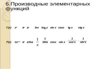 f (x) xn ex ax lnx logax sin x cosx tg x ctg x f'(x) nxn-1 ex  a