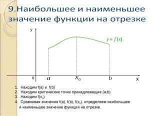 Находим f(a) и f(b) Находим критические точки принадлежащие (а;b) Находим f(