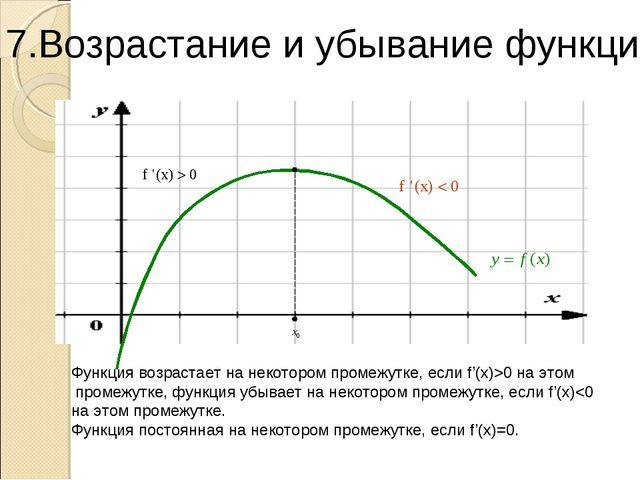 Функция возрастает на некотором промежутке, если f'(x)>0 на этом промежутке,...