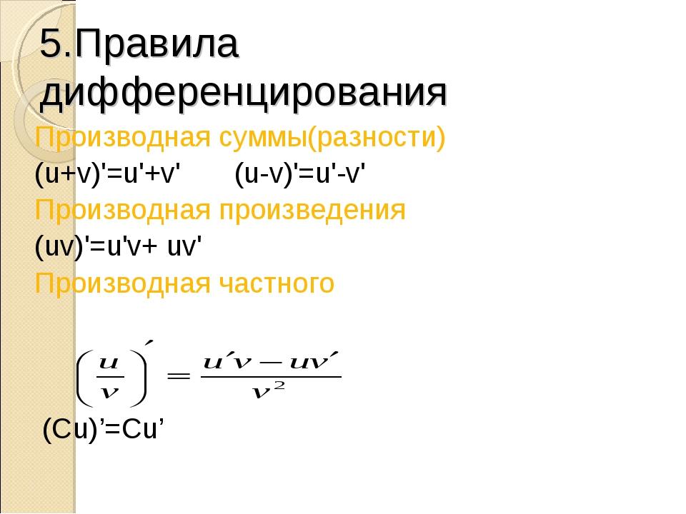 5.Правила дифференцирования Производная суммы(разности) (u+v)'=u'+v'(u-v)'=u...