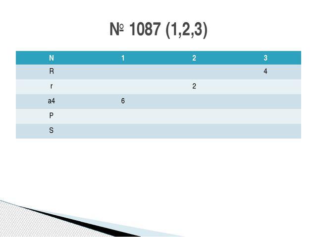 № 1087 (1,2,3) N 1 2 3 R 4 r 2 a4 6 P S