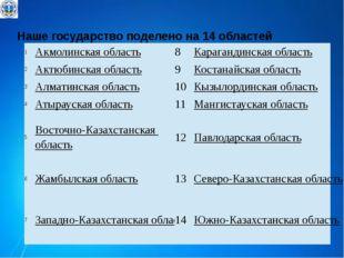 Наше государство поделено на 14 областей 1 Акмолинскаяобласть 8 Карагандинска