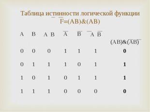 Таблица истинности логической функции F=(A۷B)&(A۷B) * * ABA ۷ BABA ۷ B
