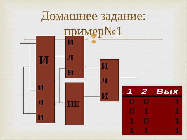 Домашнее задание: пример№1 * *