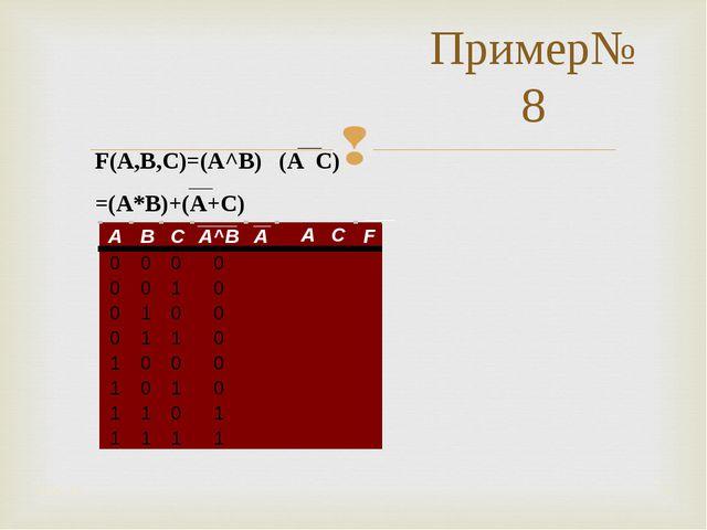 Пример№8 * * F(A,B,C)=(A^B) ۷ (A ۷ C) =(A*B)+(A+C)