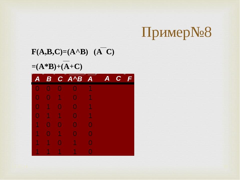 * * Пример№8 F(A,B,C)=(A^B) ۷ (A ۷ C) =(A*B)+(A+C)