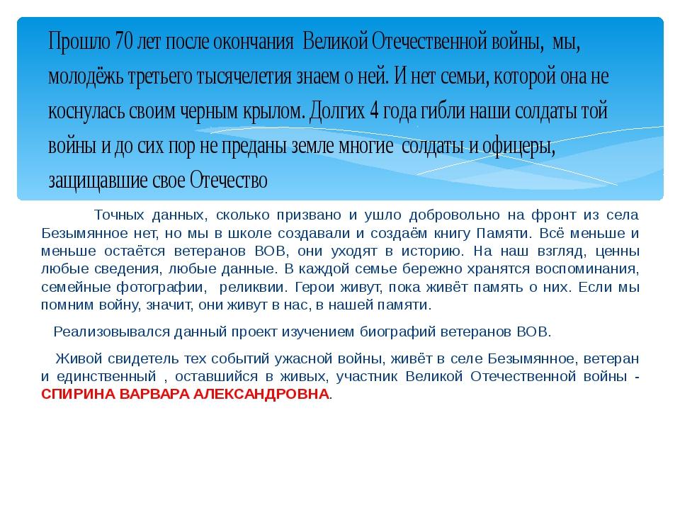 Точных данных, сколько призвано и ушло добровольно на фронт из села Безымянн...