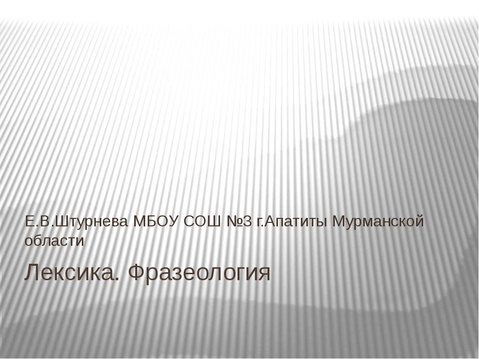 Лексика. Фразеология Е.В.Штурнева МБОУ СОШ №3 г.Апатиты Мурманской области