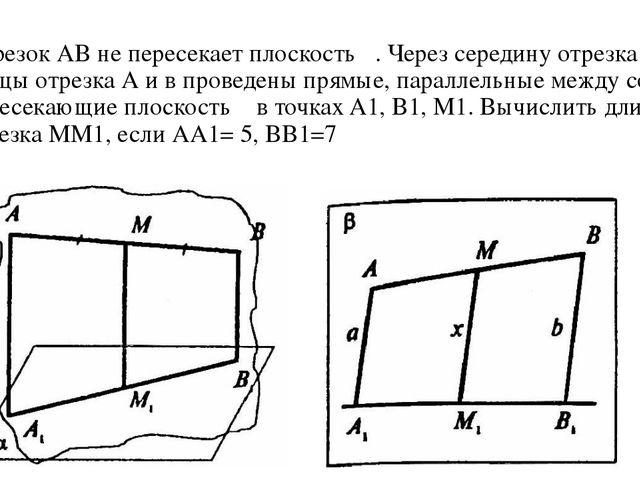 Отрезок АВ не пересекает плоскость α. Через середину отрезка М и концы отрезк...