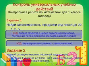 Контроль универсальных учебных действий Контрольная работа по математике для