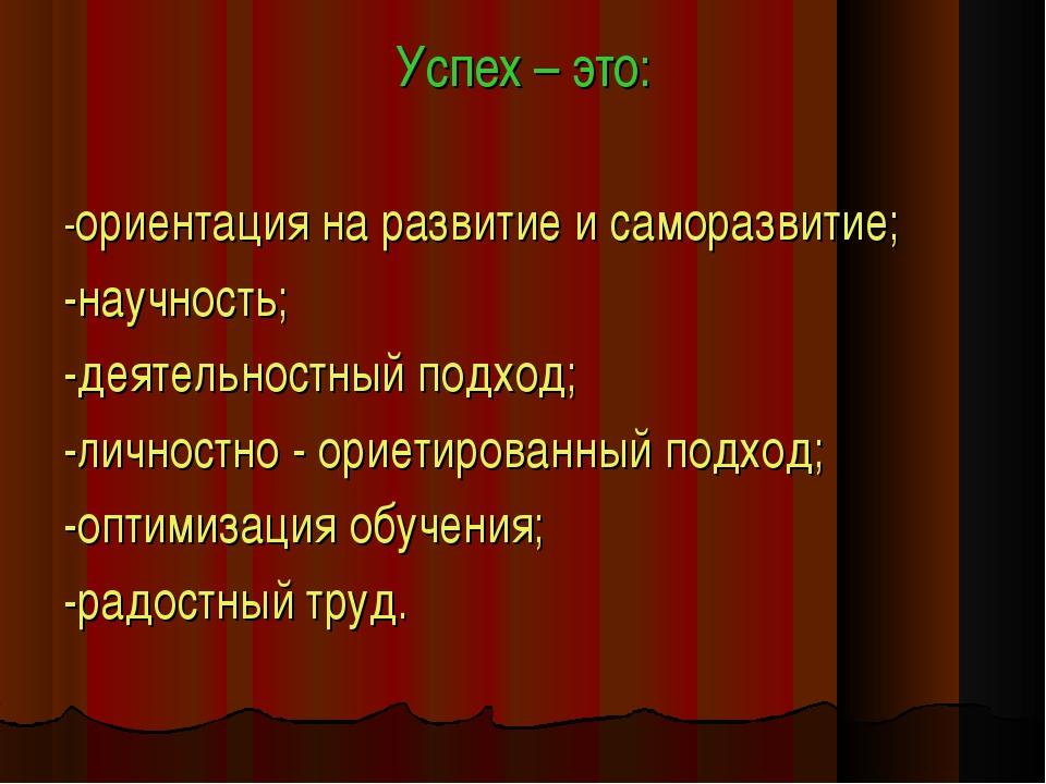 Успех – это: -ориентация на развитие и саморазвитие; -научность; -деятельност...