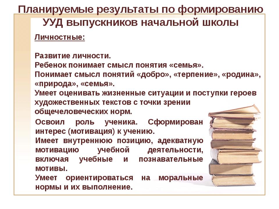 Планируемые результаты по формированию УУД выпускников начальной школы Личнос...